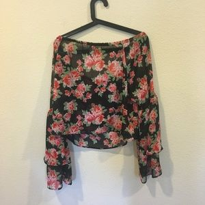 free press Tops - Free Press black and red rose off the shoulder top